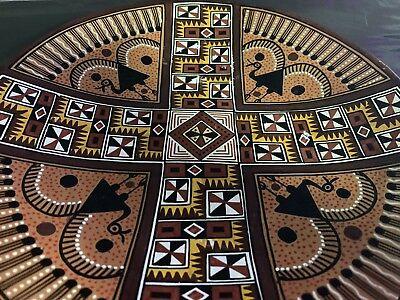 Rare Vintage Aztec Mayan Handpainted Ceramic Clay Pottery Plate Bowl Dish Decor