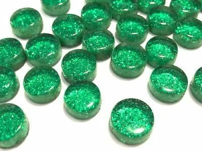 Green Glitter Glass Dots / Circle / Round Tiles - Mosaic Craft Supplies