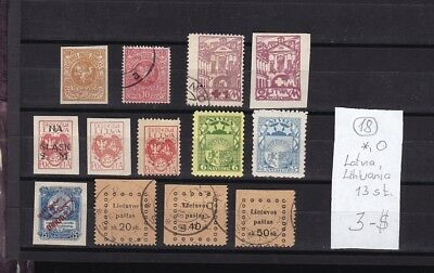 Lithuania;Latvia  1918-26rs  MLH;Used 13 stamps.Different.See scan.
