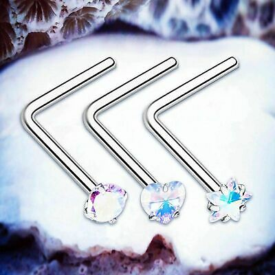 SWEETIE Rainbow Crystal L Nose Stud Silver Nose Piercings Gem Nose Studs Stone