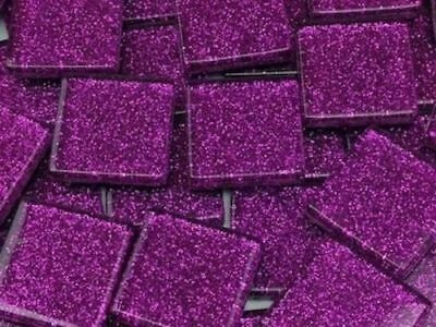 Purple Glitter Glass Mosaic Tiles 2cm - Art Craft Supplies