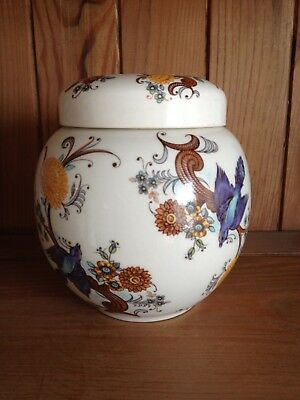 Lovely Vintage Sadler Ginger pot with Lid. Flowers and Birds