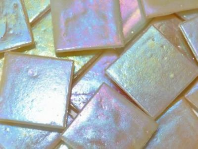 Light Gold Iridised Glass Mosaic Tiles 2cm - Craft Art Supplies