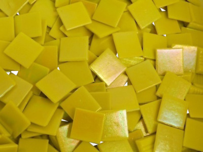 Yellow Iridised Glass Mosaic Tiles 2cm - Art Craft Supplies