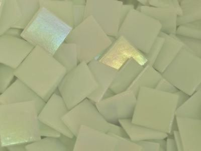 White Iridised Glass Tiles 2cm - Art Craft Supplies