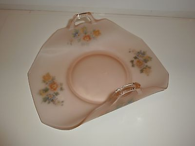 Vintage Pink Satin Glass Curved Body Dish, Multicolor Florals
