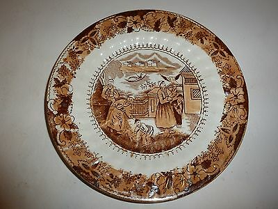 Vintage Charles Allerton & Sons England Plate, Asian Figurals and Florals, Brown