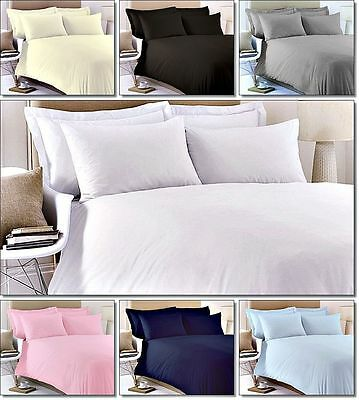 Egyptian Cotton TC 200 100% Fitted Flat Bed Sheet Pillow Cases Duvet Cover New