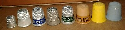 Lot of 8 Old Thimbles Metal Plastic Advertising Prudential Washington Insurance