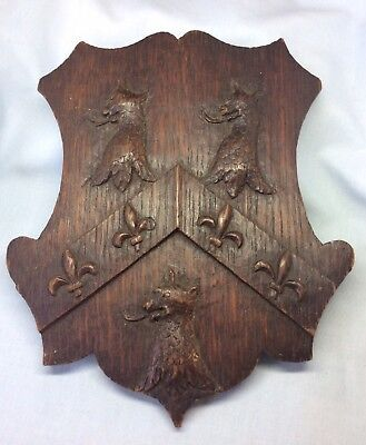 Antique Victorian Trinity College Oxford Heraldic Armorial Carved Griffin Plaque