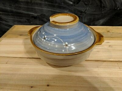 Japanese Pottery Rice Bowl Dish with lid generic blue tan ceramics flowers