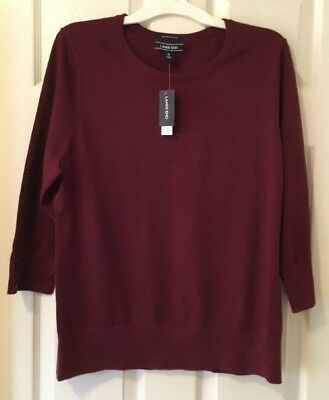 Lands End Womens Sweater Supima Cotton 34 Sleeve Deep Claret