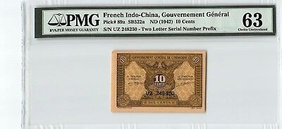 French Indo-China ND (1942) P-89a PMG Choice UNC 63 10 Cents