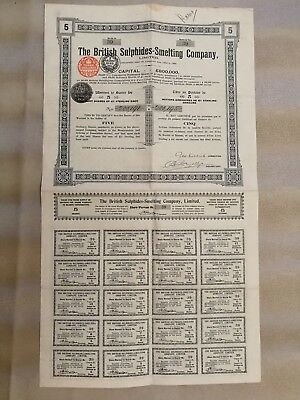 the british sulphides smelting company titre action bourse portefeuille