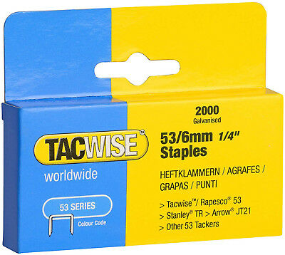 Tacwise Heavy Duty 6mm Staples for 53 Series Gun Professional DIY Home 2000pk