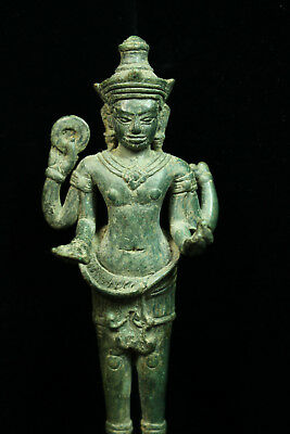Rare Ancient Khmer Bronze Statue of Four Armed Avalokitesvara 12th c Angkor Per.