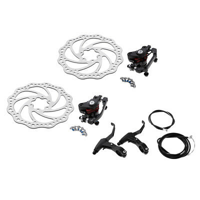 MTB Bicycle Front Rear Disc Brake Set Kit Calipers Levers Rotors 160mm Hose