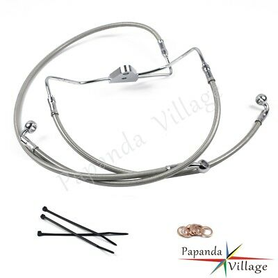 """Motorcycle Front +4"""" Stainless Cable Brake Line Kit Fit Harley Touring 2008-2013"""