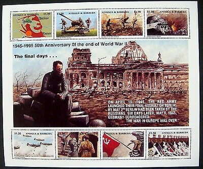 Antigua & Barbuda Wwii Stamps Sheet Mnh 1995 50Th Anv Of The End Of World War Ii