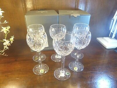 "BOXED UNUSED Waterford Crystal LISMORE SET 6 HOCK/WINE GLASSES 7 3/8"" 6oz"