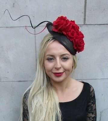 Black Red Rose Feather Flower Disc Saucer Hat Fascinator Hair Races Wedding 6755