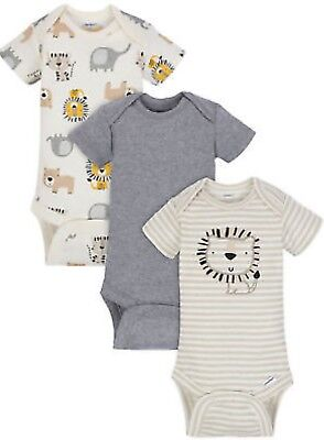 GERBER BABY BOY Organic Cotton Onesies Bodysuits Variety 3-Pack - LION - NWT