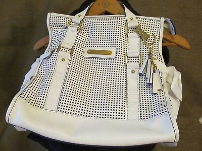 Juicy Couture Shoulder Bag/Handbag- Perforated White And Royal Blue Tote Purse