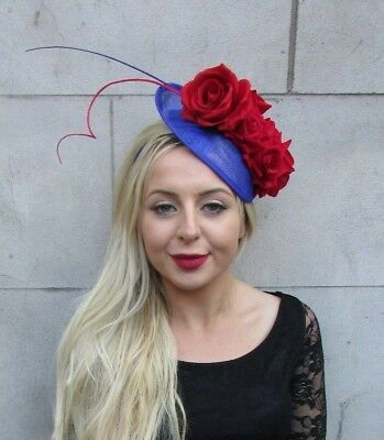 Royal Blue Red Rose Feather Flower Disc Saucer Hat Fascinator Hair Races 6758