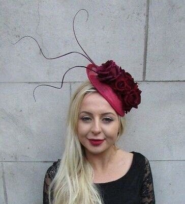 Burgundy Wine Red Rose Feather Flower Disc Saucer Hat Fascinator Hair Races 6759