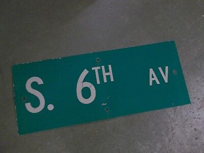 "Vintage Original S. 6TH AV Street Sign 30"" X 12"" White Lettering on Green"