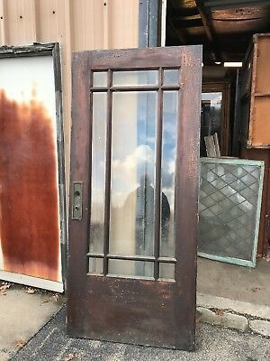 Cm 62 Antique Oak Entrance Door Nine Light Beveled Glass 36 X79 5/8