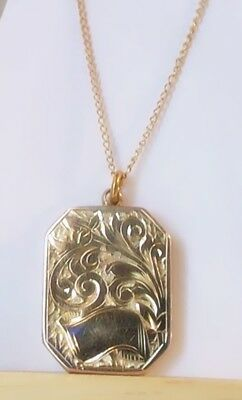 ANTIQUE Art Deco Period GOLD FILLED ORNATE EMBOSSED LOCKET Jewelry-Very Nice