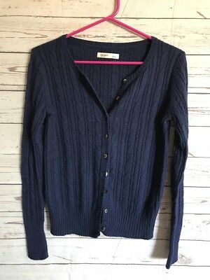 OLD NAVY DARK Blue Cable Knit Button Front Cardigan Sweater Size Small