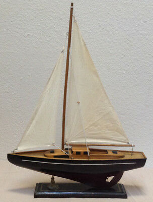 Wooden Sailboat Model Vintage Nautical Decor 16 Solid Wood