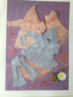Knitting Pattern For Babys Hooded Coat Scarf/Mitts 16-24inch DK See Details(B20)