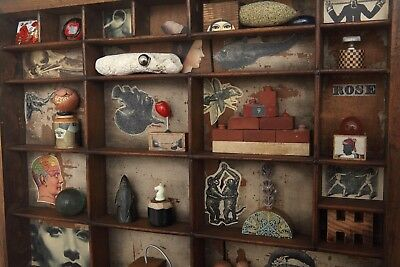 Small Printers Tray Cabinet of Quiry Curios Artwork with Small Collectables