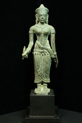 Rare Ancient Khmer Bronze Statue of Prajnaparamita 11th cent. Baphuon Style