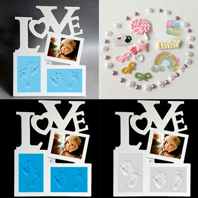 Baby Hand Print & Footprint Photo Frame White Baby Shower Gift