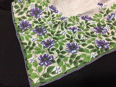 Vintage Carol Stanley Gray Hand Rolled Green and Purple Floral Handkerchief