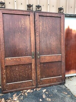 CM 64 match Pair antique two panel oak pocket doors 6' x 84 x 2.25
