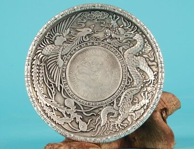 Vintage Chinese Silver-Plate Embossed Dragon Phoenix Home Decoration Gift Collec