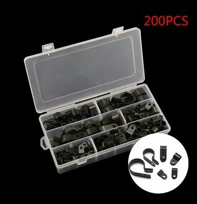 High Quality Assorted Box of Black Nylon Plastic P Clips - 200 Pieces UK SELLER