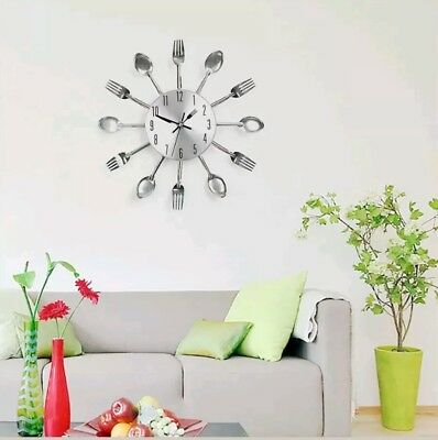 Funny Modern Large Cutlery Wall Clock Fork & Spoon Kitchen Home Decoration Gift