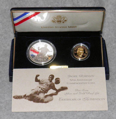 1997 Jackie Robinson 50th Anniversary 2-Coin (Gold & Silver) Proof Set w/COA
