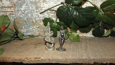2-pc Pewter Set Castle, Lady Holding A Orb