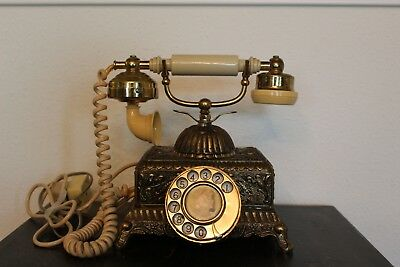 Monarch Ivory Rotary Dial Telephone Brass (Vintage)