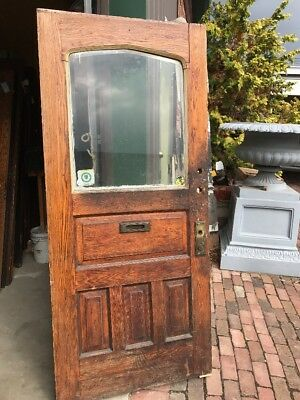 Ar 80 Antique Gothic Top Beveled Glass Oak Entrance Door 37.75 X 85