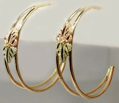 Handcrafted South Dakota Black Hills 12kt Red Green Gold Hoops Celt Viking Norse