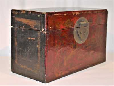 Fine China Chinese Wood Lacquered Box w/ Figural Decoration ca. early 20th c.