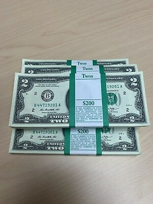100 - BRAND NEW Uncirculated $2 Two Dollar Bills Series 2013 NEW YORK